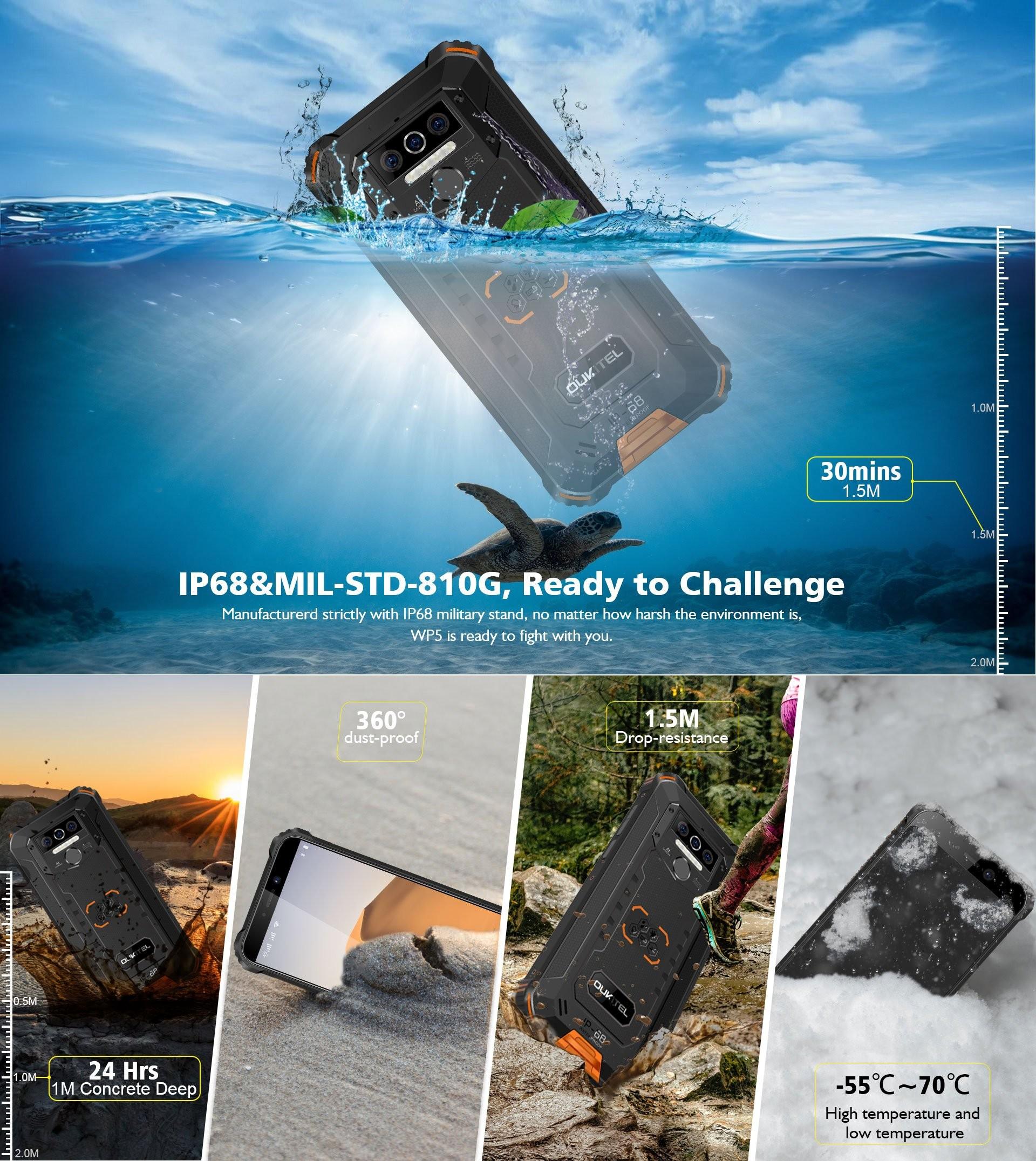 Oukitel WP5 - защита IP68, IP69K, MIL-STD-810G